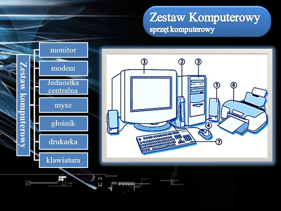 Zestaw komputerowy monitor modem Jednostka centralna mysz głośnik drukarka klawiatura