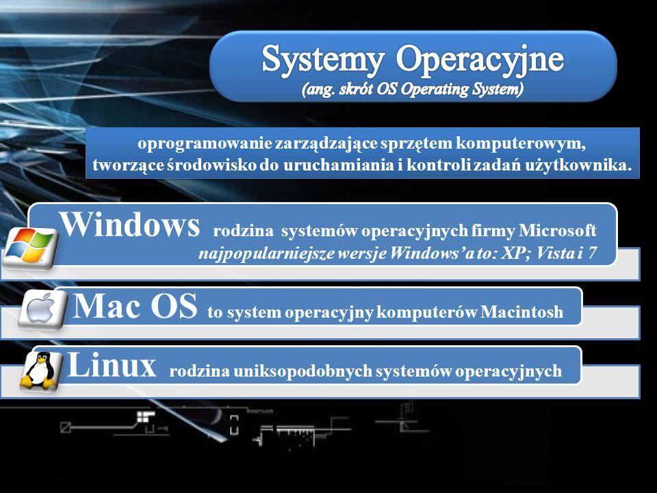 oprogramowanie zarządzające sprzętem komputerowym, tworzące środowisko do uruchamiania i kontroli zadań użytkownika. Windows rodzina systemów operacyj