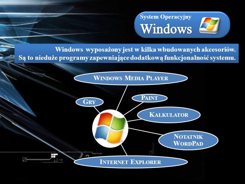 Windows wyposażony jest w kilka wbudowanych akcesoriów. Są to nieduże programy zapewniające dodatkową funkcjonalność systemu. W INDOWS M EDIA P LAYER