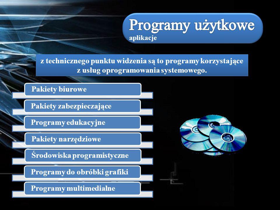 z technicznego punktu widzenia są to programy korzystające z usług oprogramowania systemowego. Pakiety biurowePakiety zabezpieczająceProgramy edukacyj