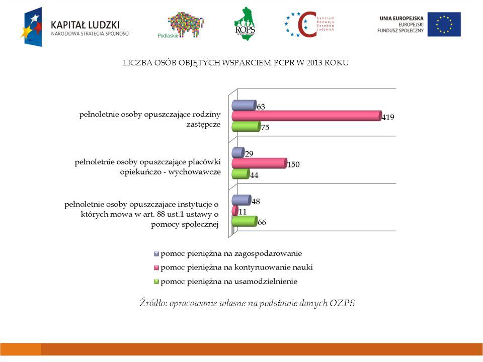 LICZBA OSÓB OBJĘTYCH WSPARCIEM PCPR W 2013 ROKU Źródło: opracowanie własne na podstawie danych OZPS
