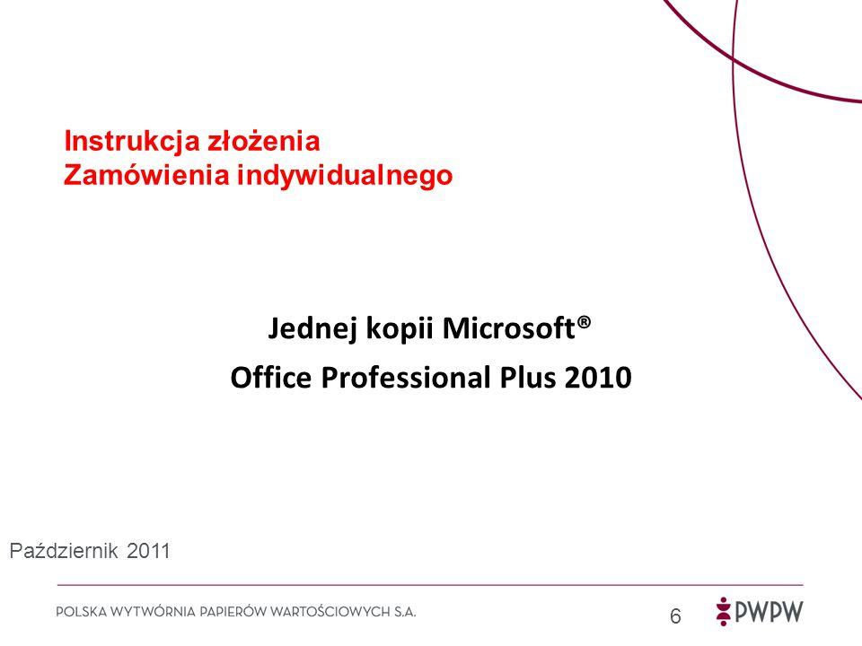 """1) Uruchom przeglądarkę internetową na komputerze firmowym i przejdź do strony www.microsofthup.plwww.microsofthup.pl 7 Wprowadź służbowy adres e-mail Wprowadź kod (obowiązuje dla pracowników PWPW S.A.) Kliknij przycisk """"Prześlij Szczegóły dotyczące zakupu j.kowalski@pwpw.pl DAC1FEBC6A Październik 2011"""