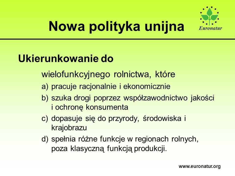 Euronatur www.euronatur.org Nowa polityka unijna Ukierunkowanie do wielofunkcyjnego rolnictwa, które a)pracuje racjonalnie i ekonomicznie b)szuka drogi poprzez współzawodnictwo jakości i ochronę konsumenta c)dopasuje się do przyrody, środowiska i krajobrazu d)spełnia różne funkcje w regionach rolnych, poza klasyczną funkcją produkcji.