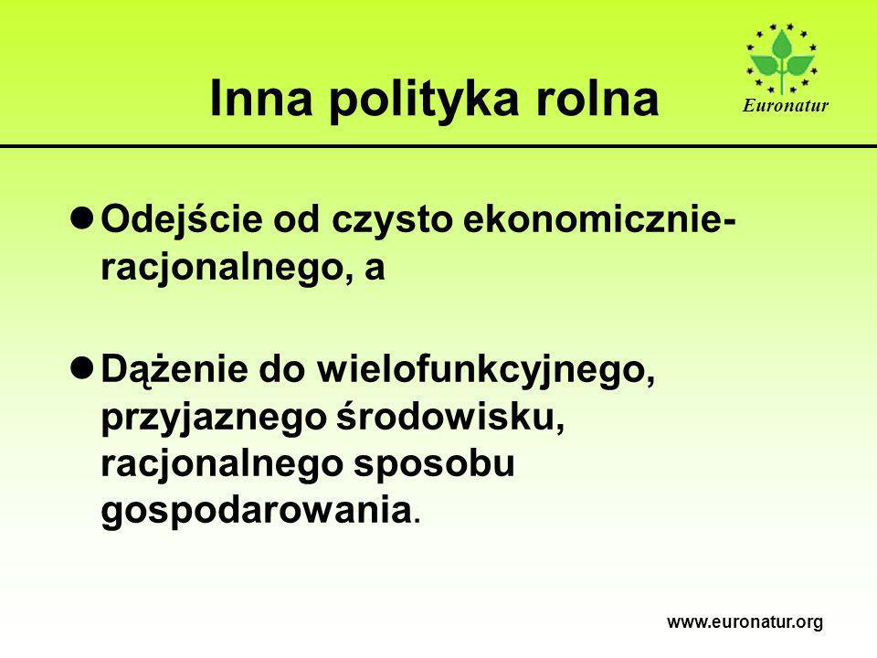 Euronatur www.euronatur.org Inna polityka rolna lOdejście od czysto ekonomicznie- racjonalnego, a lDążenie do wielofunkcyjnego, przyjaznego środowisku, racjonalnego sposobu gospodarowania.