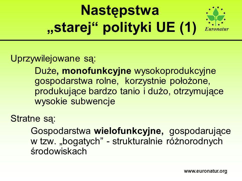 """Euronatur www.euronatur.org Następstwa """"starej polityki UE (1) Uprzywilejowane są: Duże, monofunkcyjne wysokoprodukcyjne gospodarstwa rolne, korzystnie położone, produkujące bardzo tanio i dużo, otrzymujące wysokie subwencje Stratne są: Gospodarstwa wielofunkcyjne, gospodarujące w tzw."""