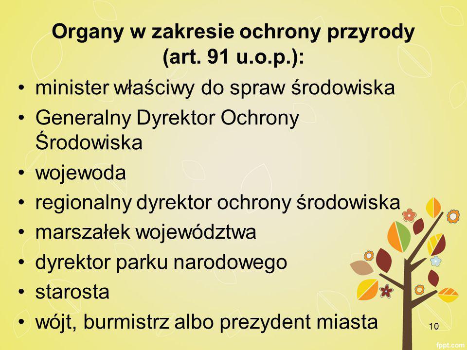 Organy w zakresie ochrony przyrody (art.