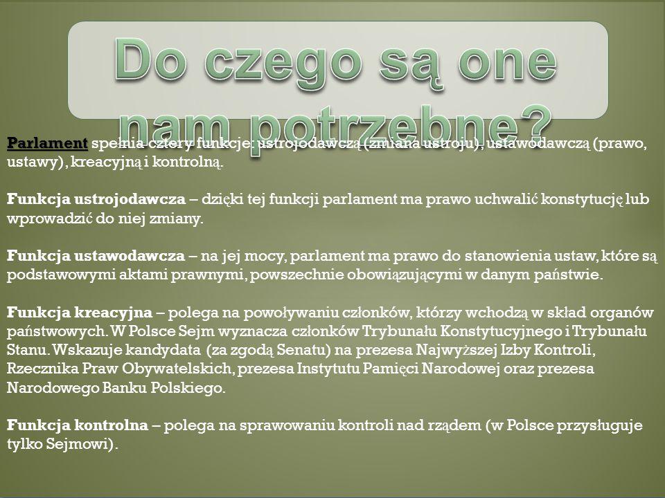 Parlament Parlament spe ł nia cztery funkcje: ustrojodawcz ą (zmiana ustroju), ustawodawcz ą (prawo, ustawy), kreacyjn ą i kontroln ą.
