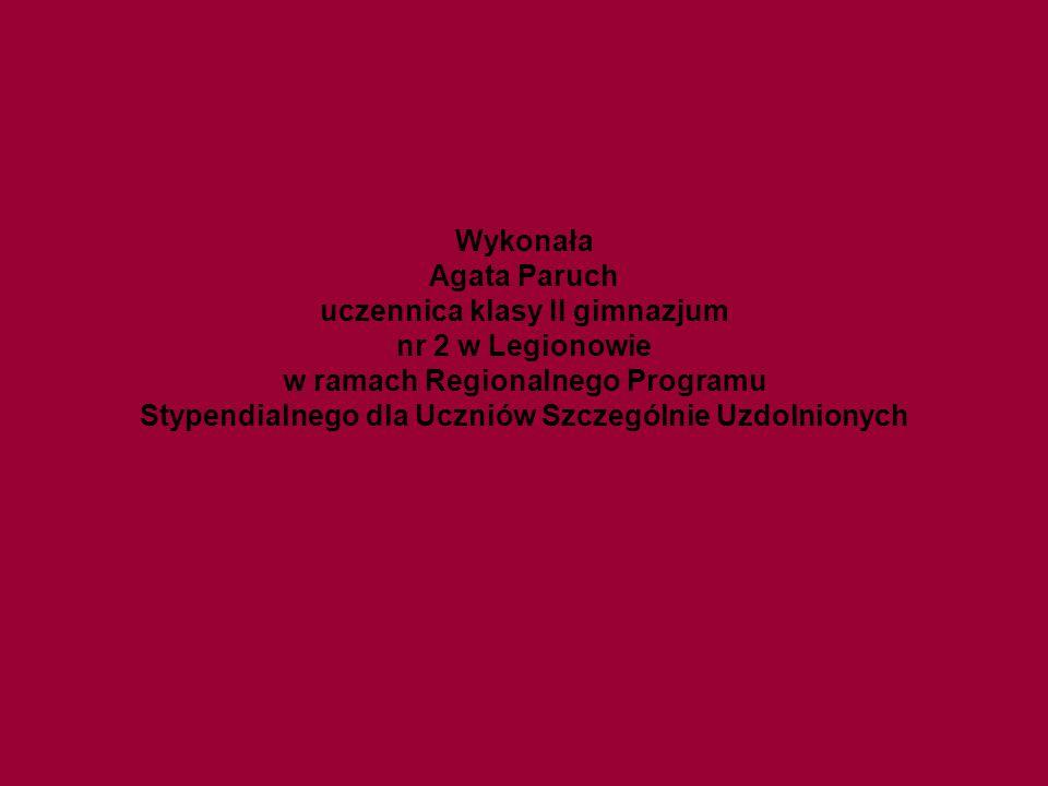 Wykonała Agata Paruch uczennica klasy II gimnazjum nr 2 w Legionowie w ramach Regionalnego Programu Stypendialnego dla Uczniów Szczególnie Uzdolnionyc