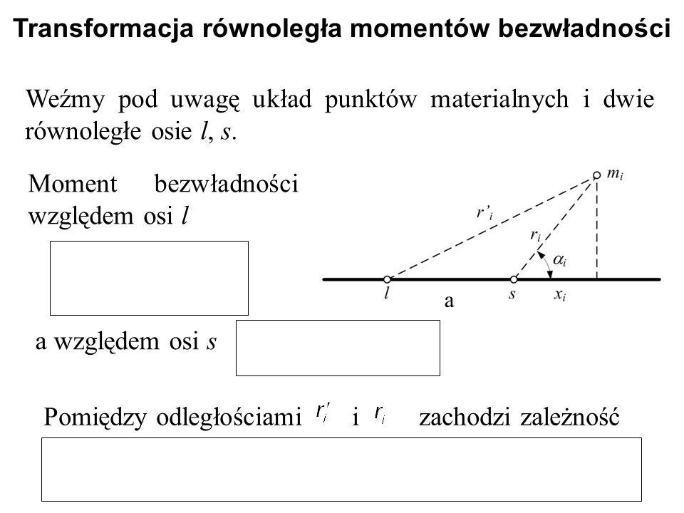 Transformacja równoległa momentów bezwładności Weźmy pod uwagę układ punktów materialnych i dwie równoległe osie l, s. Moment bezwładności względem os