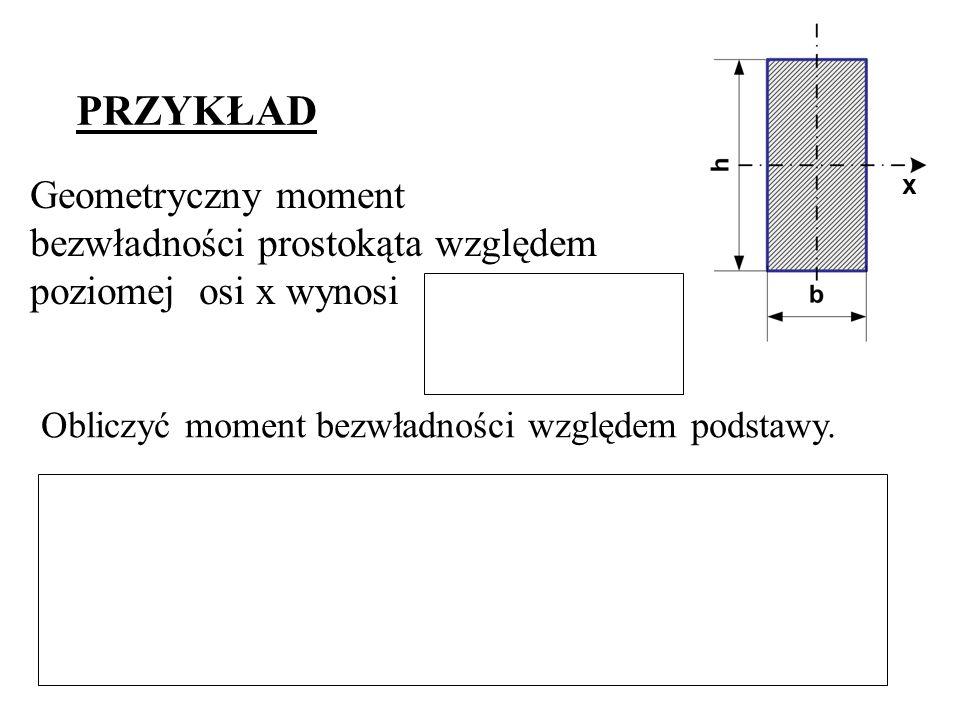 PRZYKŁAD Geometryczny moment bezwładności prostokąta względem poziomej osi x wynosi Obliczyć moment bezwładności względem podstawy. x
