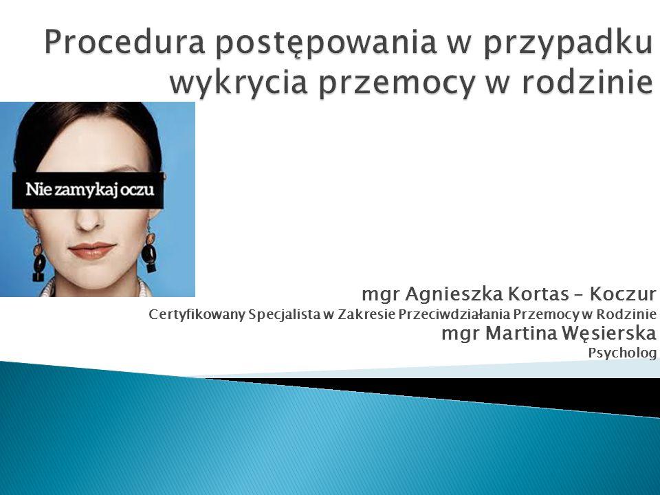 mgr Agnieszka Kortas – Koczur Certyfikowany Specjalista w Zakresie Przeciwdziałania Przemocy w Rodzinie mgr Martina Węsierska Psycholog