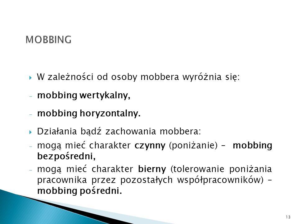  W zależności od osoby mobbera wyróżnia się: - mobbing wertykalny, - mobbing horyzontalny.  Działania bądź zachowania mobbera: - mogą mieć charakter