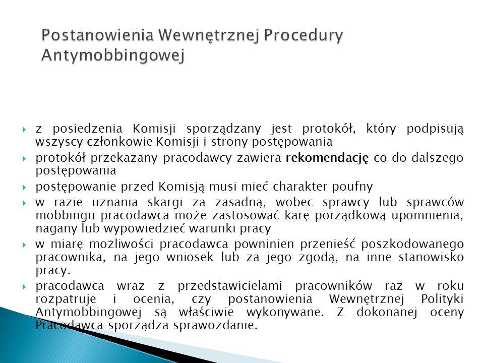  z posiedzenia Komisji sporządzany jest protokół, który podpisują wszyscy członkowie Komisji i strony postępowania  protokół przekazany pracodawcy z