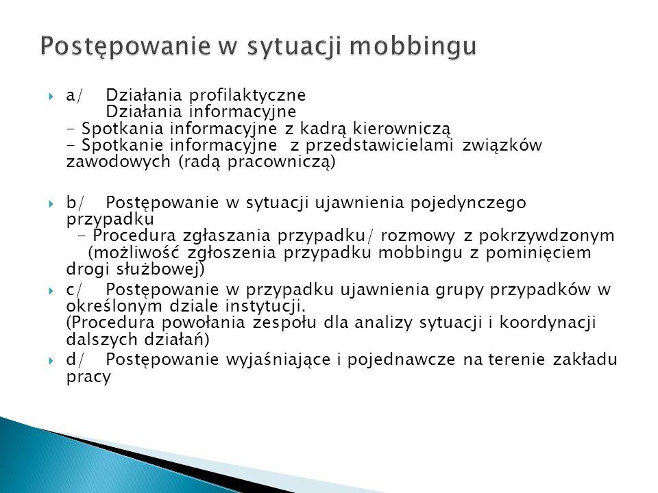  a/Działania profilaktyczne Działania informacyjne - Spotkania informacyjne z kadrą kierowniczą - Spotkanie informacyjne z przedstawicielami związków