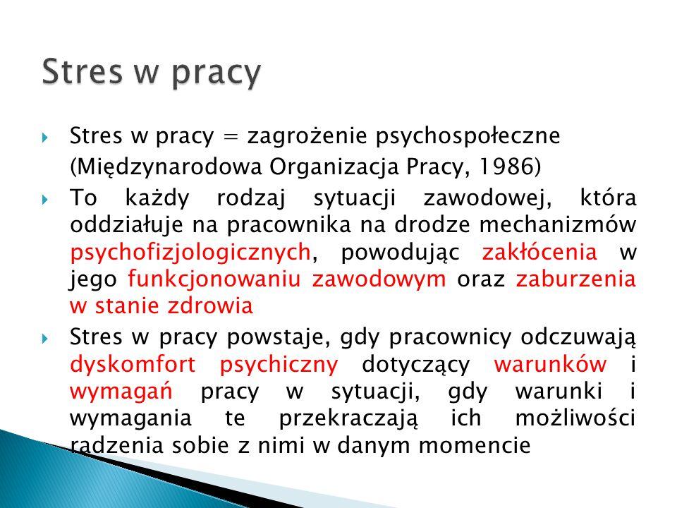 Stres w pracy  Stres w pracy = zagrożenie psychospołeczne (Międzynarodowa Organizacja Pracy, 1986)  To każdy rodzaj sytuacji zawodowej, która oddzia