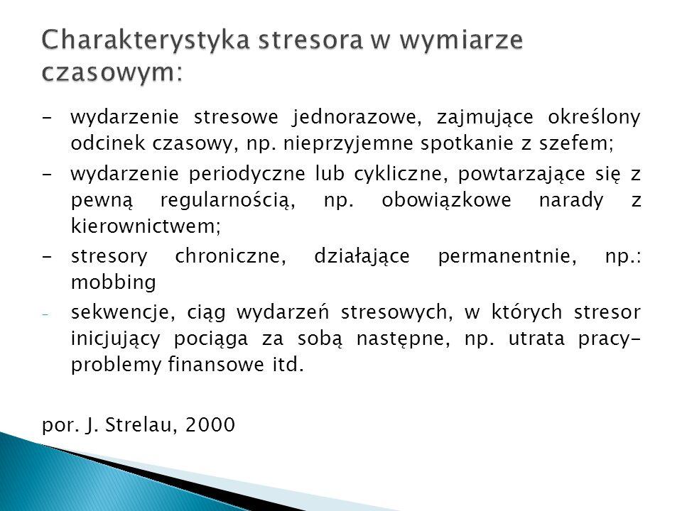 Charakterystyka stresora w wymiarze czasowym: -wydarzenie stresowe jednorazowe, zajmujące określony odcinek czasowy, np. nieprzyjemne spotkanie z szef