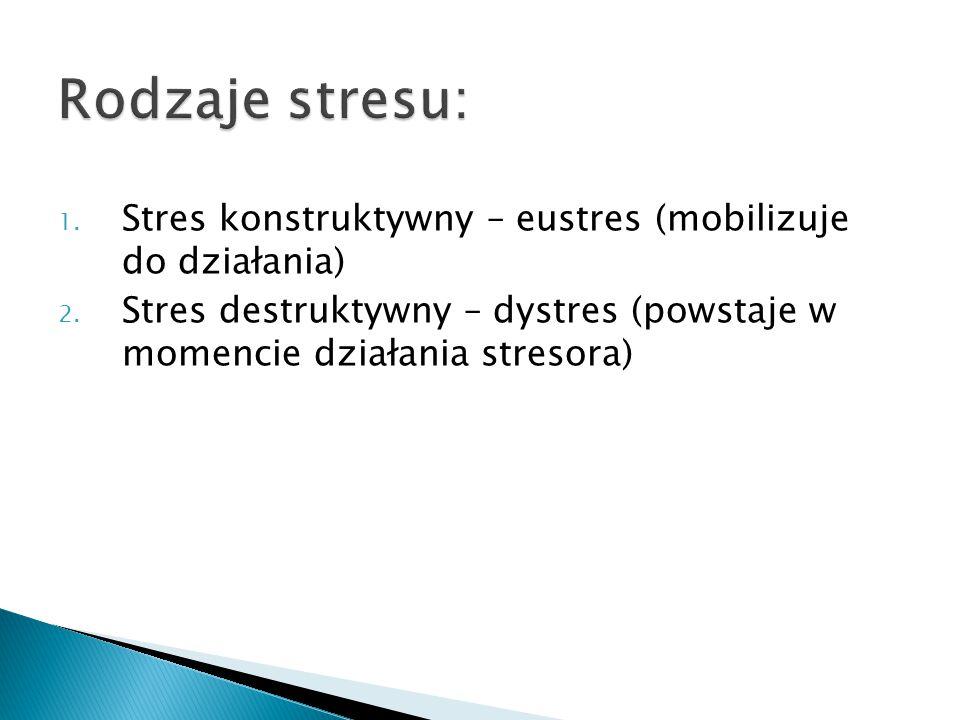 Rodzaje stresu: 1. Stres konstruktywny – eustres (mobilizuje do działania) 2. Stres destruktywny – dystres (powstaje w momencie działania stresora)