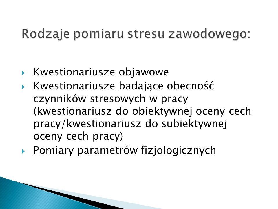 Rodzaje pomiaru stresu zawodowego:  Kwestionariusze objawowe  Kwestionariusze badające obecność czynników stresowych w pracy (kwestionariusz do obie
