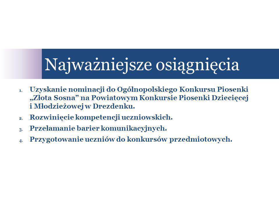 """Najważniejsze osiągnięcia 1. Uzyskanie nominacji do Ogólnopolskiego Konkursu Piosenki """"Złota Sosna"""" na Powiatowym Konkursie Piosenki Dziecięcej i Młod"""