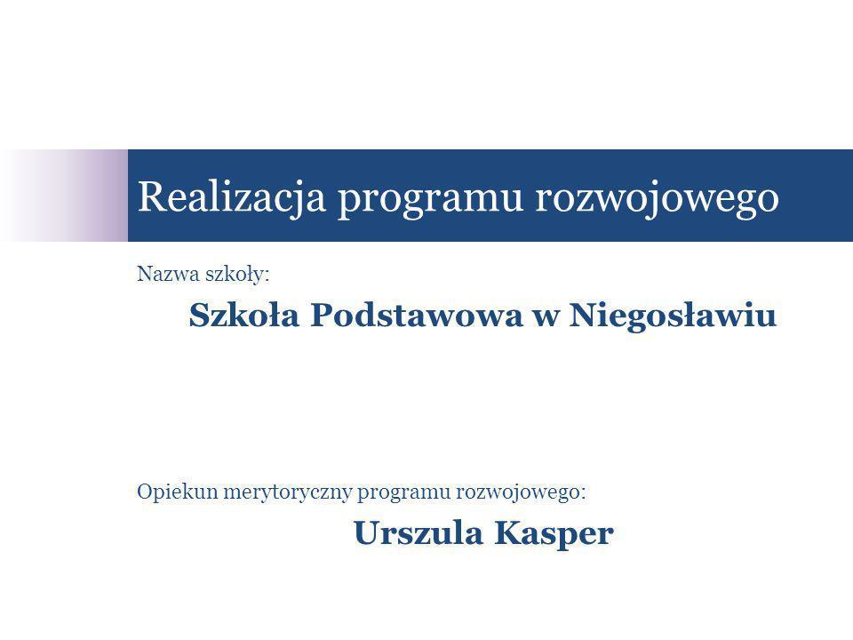 Nazwa szkoły: Szkoła Podstawowa w Niegosławiu Opiekun merytoryczny programu rozwojowego: Urszula Kasper Realizacja programu rozwojowego