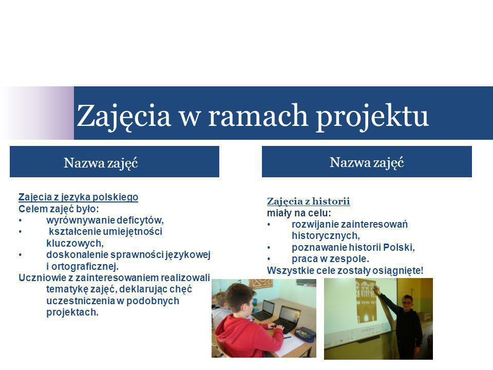 Nazwa zajęć Zajęcia w ramach projektu Nazwa zajęć Zajęcia z historii miały na celu: rozwijanie zainteresowań historycznych, poznawanie historii Polski, praca w zespole.