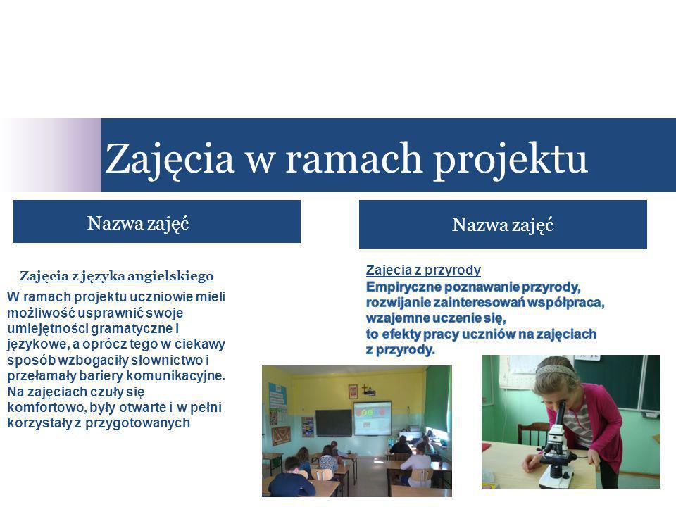 Nazwa zajęć Zajęcia w ramach projektu Nazwa zajęć Zajęcia z języka angielskiego W ramach projektu uczniowie mieli możliwość usprawnić swoje umiejętnoś