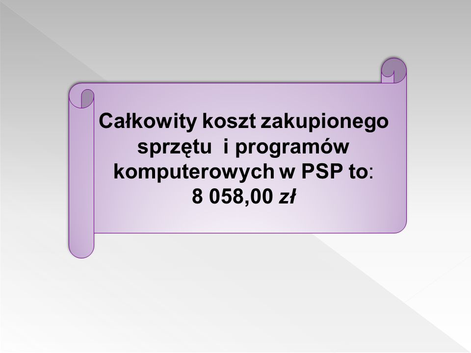 Całkowity koszt zakupionego sprzętu i programów komputerowych w PSP to: 8 058,00 zł
