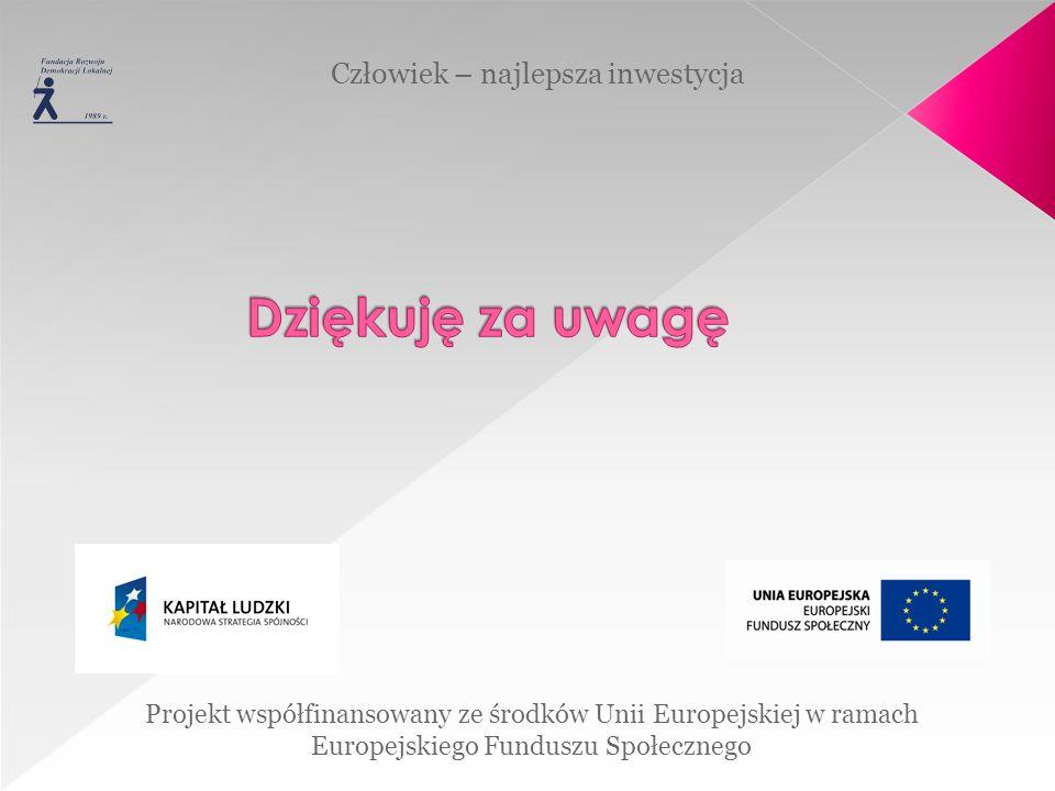 Projekt współfinansowany ze środków Unii Europejskiej w ramach Europejskiego Funduszu Społecznego Człowiek – najlepsza inwestycja