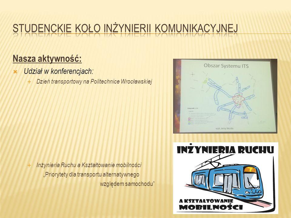 """Nasza aktywność:  Udział w konferencjach:  Dzień transportowy na Politechnice Wrocławskiej  Inżynieria Ruchu a Kształtowanie mobilności """"Priorytety"""