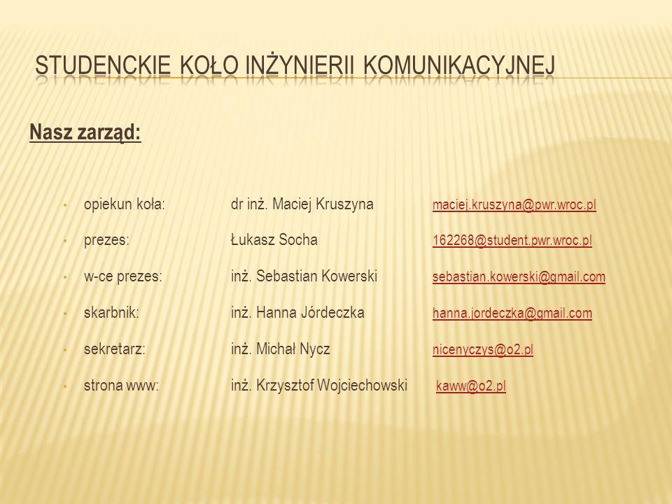 Nasz zarząd: opiekun koła:dr inż. Maciej Kruszyna maciej.kruszyna@pwr.wroc.pl maciej.kruszyna@pwr.wroc.pl prezes:Łukasz Socha 162268@student.pwr.wroc.