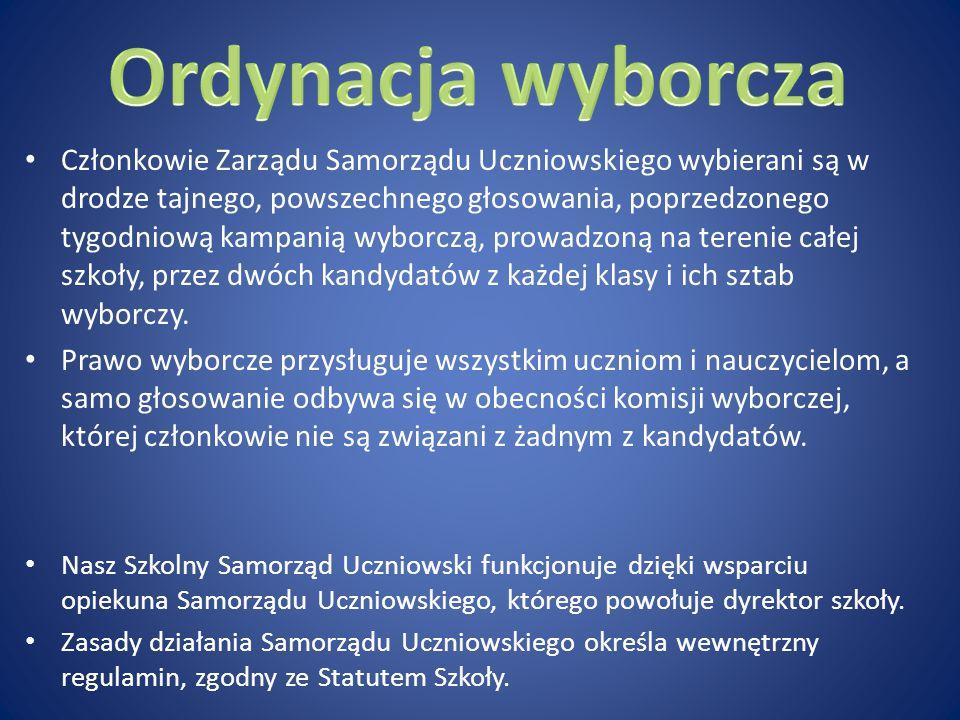 Członkowie Zarządu Samorządu Uczniowskiego wybierani są w drodze tajnego, powszechnego głosowania, poprzedzonego tygodniową kampanią wyborczą, prowadz
