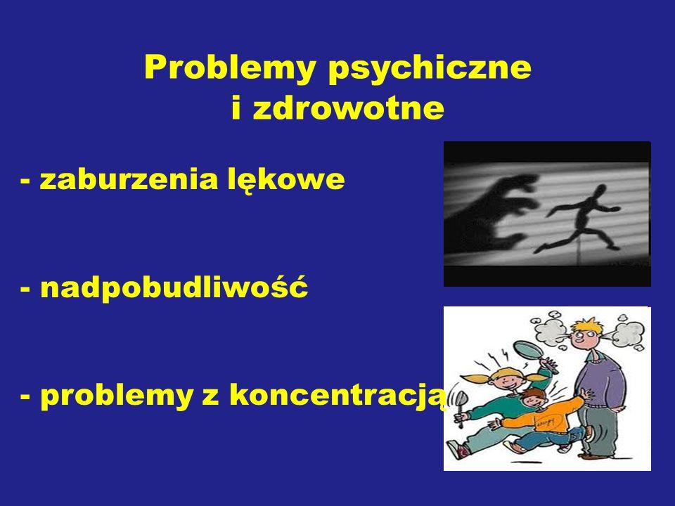 Problemy psychiczne i zdrowotne - zaburzenia lękowe - nadpobudliwość - problemy z koncentracją