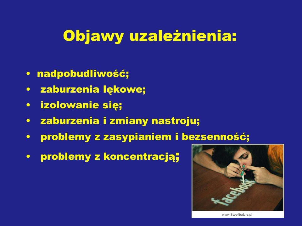 Objawy uzależnienia: nadpobudliwość; zaburzenia lękowe; izolowanie się; zaburzenia i zmiany nastroju; problemy z zasypianiem i bezsenność; problemy z