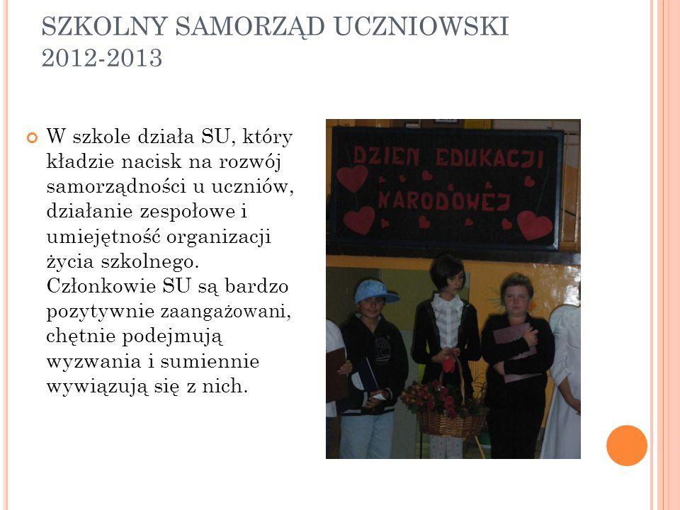 SZKOLNY SAMORZĄD UCZNIOWSKI 2012-2013 W szkole działa SU, który kładzie nacisk na rozwój samorządności u uczniów, działanie zespołowe i umiejętność organizacji życia szkolnego.
