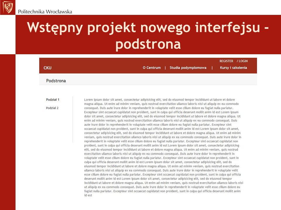 Wstępny projekt nowego interfejsu - podstrona
