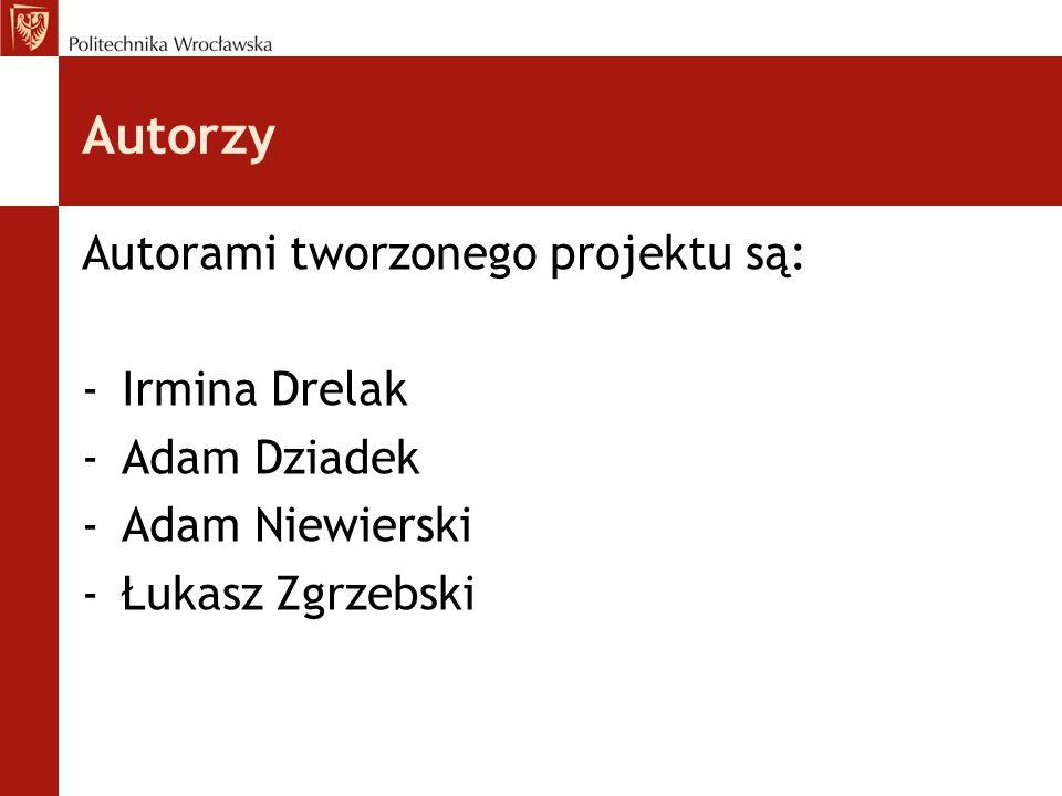 Autorzy Autorami tworzonego projektu są: -Irmina Drelak -Adam Dziadek -Adam Niewierski -Łukasz Zgrzebski