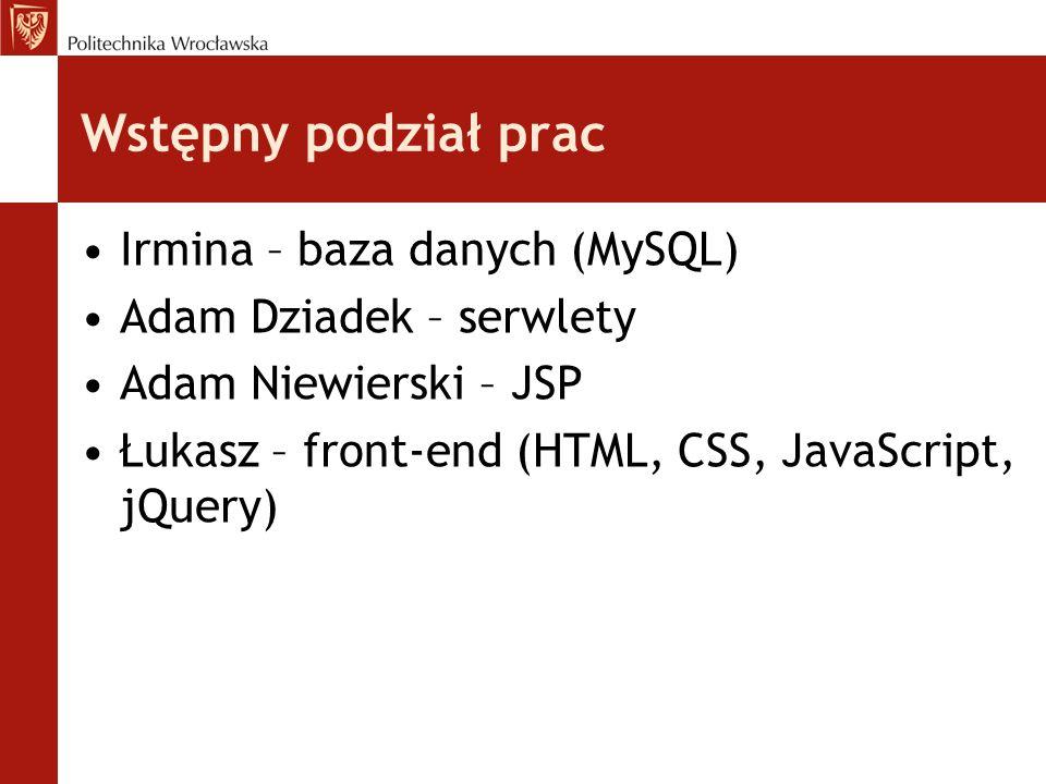 Wstępny podział prac Irmina – baza danych (MySQL) Adam Dziadek – serwlety Adam Niewierski – JSP Łukasz – front-end (HTML, CSS, JavaScript, jQuery)