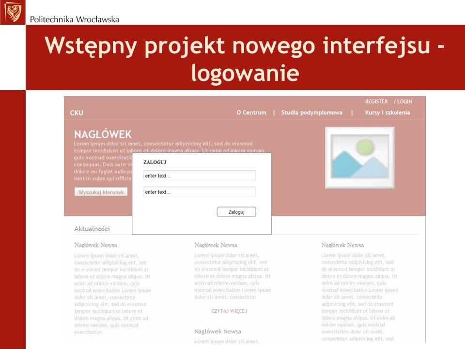 Wstępny projekt nowego interfejsu - logowanie