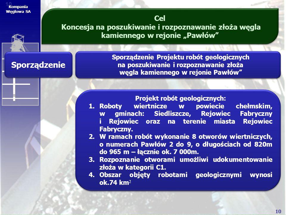 """10 Kompania Węglowa SA Cel Koncesja na poszukiwanie i rozpoznawanie złoża węgla kamiennego w rejonie """"Pawłów"""" Sporządzenie Sporządzenie Projektu robót"""