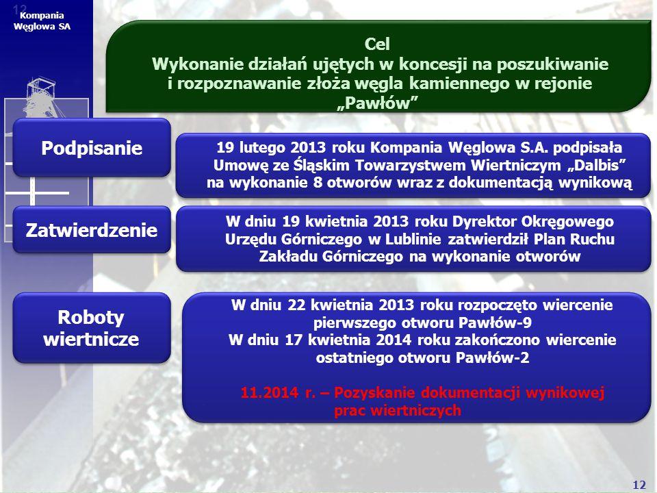 """12 Kompania Węglowa SA Cel Wykonanie działań ujętych w koncesji na poszukiwanie i rozpoznawanie złoża węgla kamiennego w rejonie """"Pawłów"""" Podpisanie Z"""
