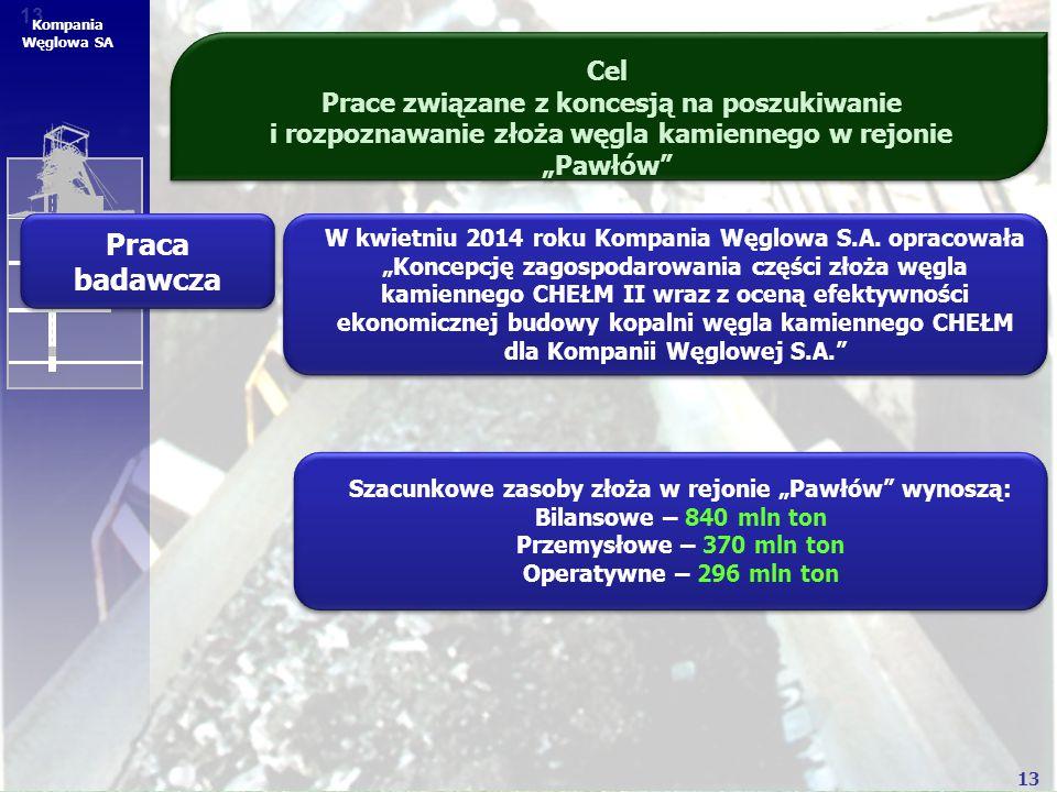 """13 Kompania Węglowa SA Cel Prace związane z koncesją na poszukiwanie i rozpoznawanie złoża węgla kamiennego w rejonie """"Pawłów"""" Praca badawcza W kwietn"""