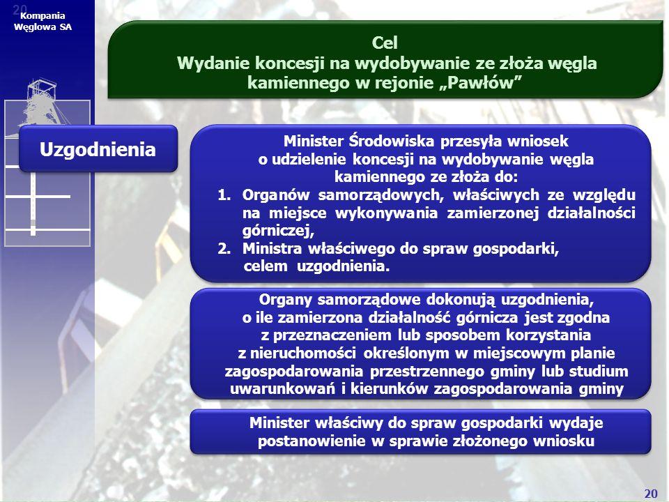 """20 Kompania Węglowa SA Cel Wydanie koncesji na wydobywanie ze złoża węgla kamiennego w rejonie """"Pawłów"""" Uzgodnienia Organy samorządowe dokonują uzgodn"""