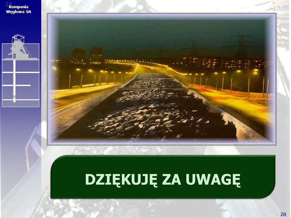 28 Kompania Węglowa SA DZIĘKUJĘ ZA UWAGĘ