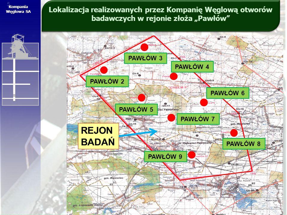 """5 5 Kompania Węglowa SA Lokalizacja realizowanych przez Kompanię Węglową otworów badawczych w rejonie złoża """"Pawłów"""" PAWŁÓW 3 PAWŁÓW 5 PAWŁÓW 7 PAWŁÓW"""