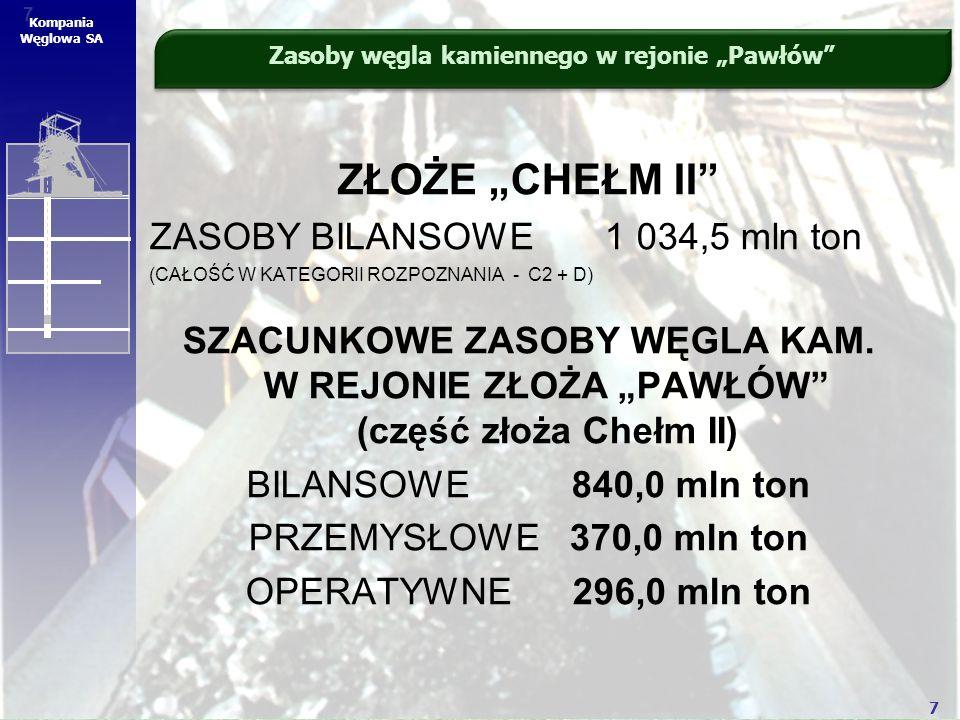 """7 7 Kompania Węglowa SA ZŁOŻE """"CHEŁM II"""" ZASOBY BILANSOWE 1 034,5 mln ton (CAŁOŚĆ W KATEGORII ROZPOZNANIA - C2 + D) SZACUNKOWE ZASOBY WĘGLA KAM. W REJ"""