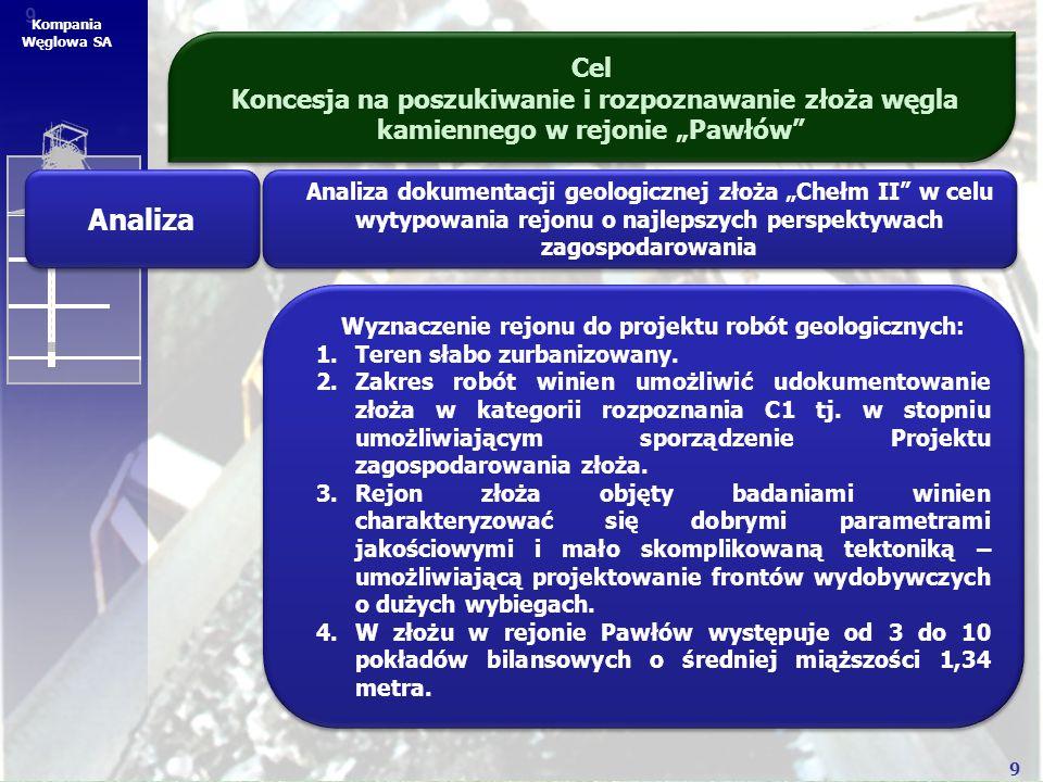 """9 9 Kompania Węglowa SA Cel Koncesja na poszukiwanie i rozpoznawanie złoża węgla kamiennego w rejonie """"Pawłów"""" Analiza Analiza dokumentacji geologiczn"""