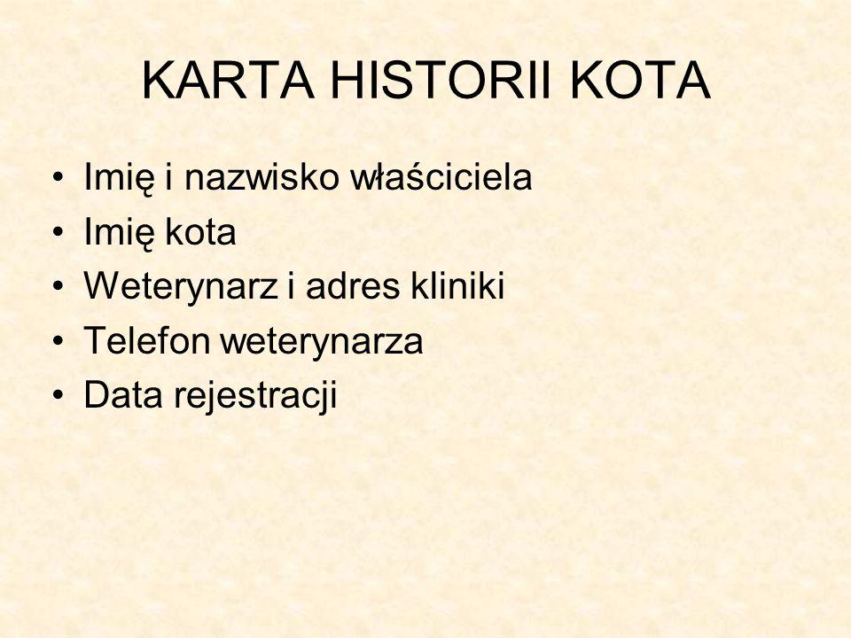KARTA HISTORII KOTA Imię i nazwisko właściciela Imię kota Weterynarz i adres kliniki Telefon weterynarza Data rejestracji