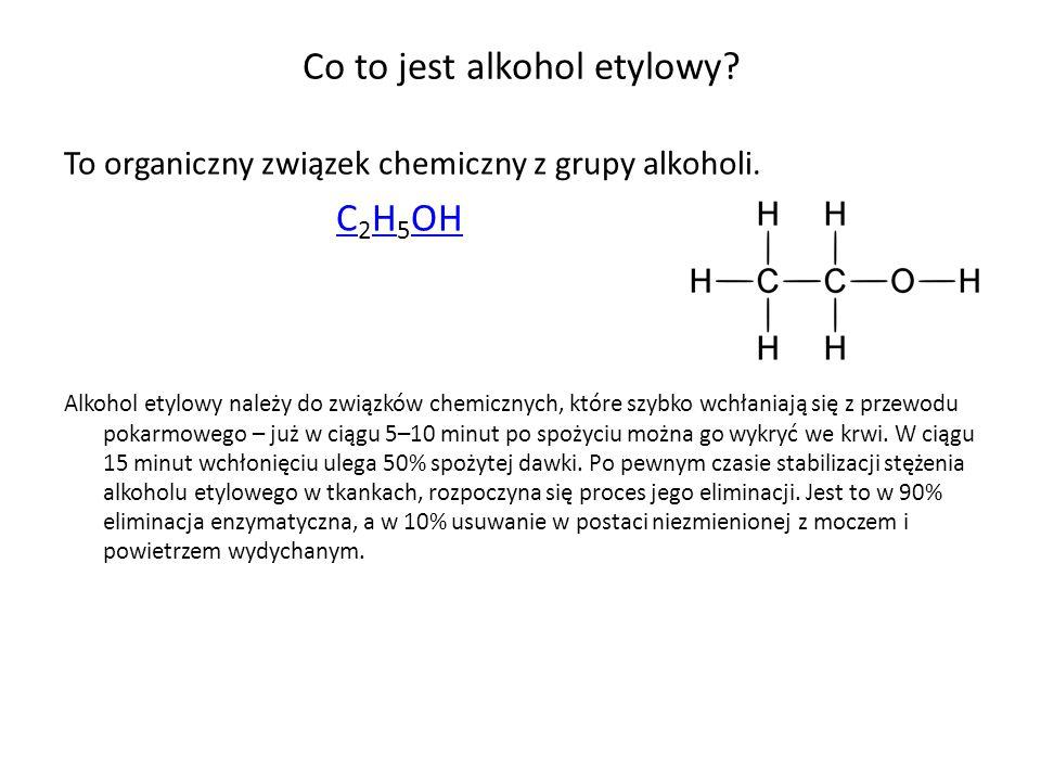 Co to jest alkohol etylowy? To organiczny związek chemiczny z grupy alkoholi. C 2 H 5 OH C H OH Alkohol etylowy należy do związków chemicznych, które