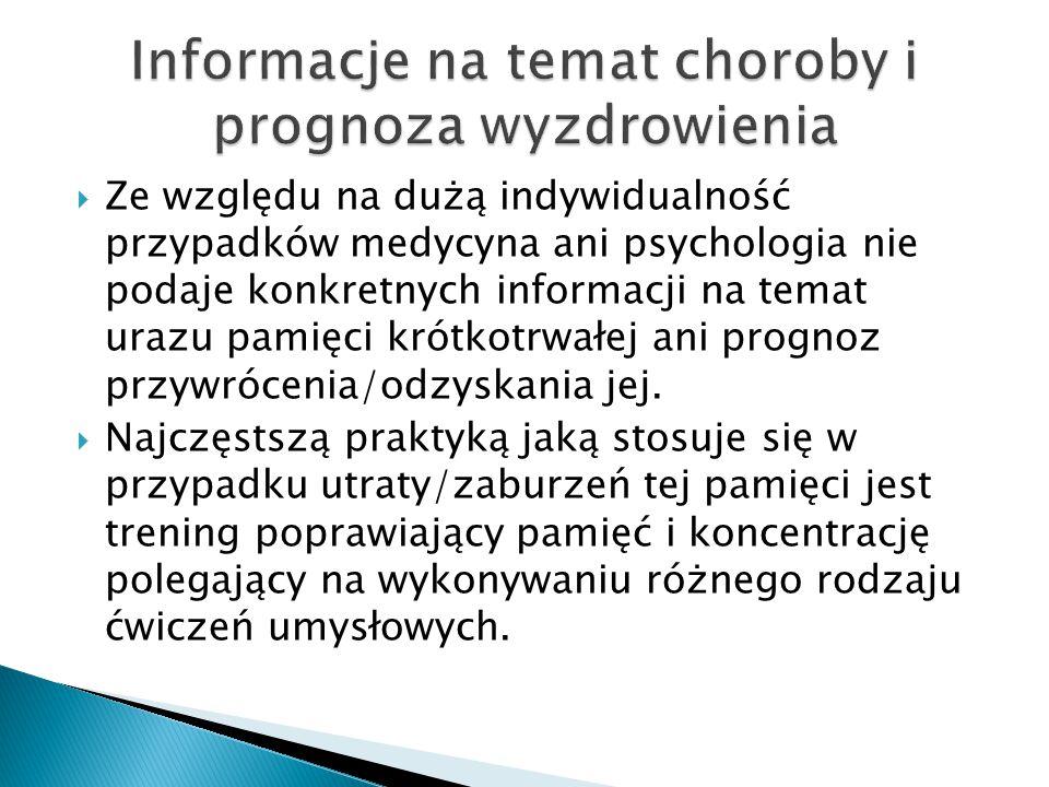  Ze względu na dużą indywidualność przypadków medycyna ani psychologia nie podaje konkretnych informacji na temat urazu pamięci krótkotrwałej ani prognoz przywrócenia/odzyskania jej.