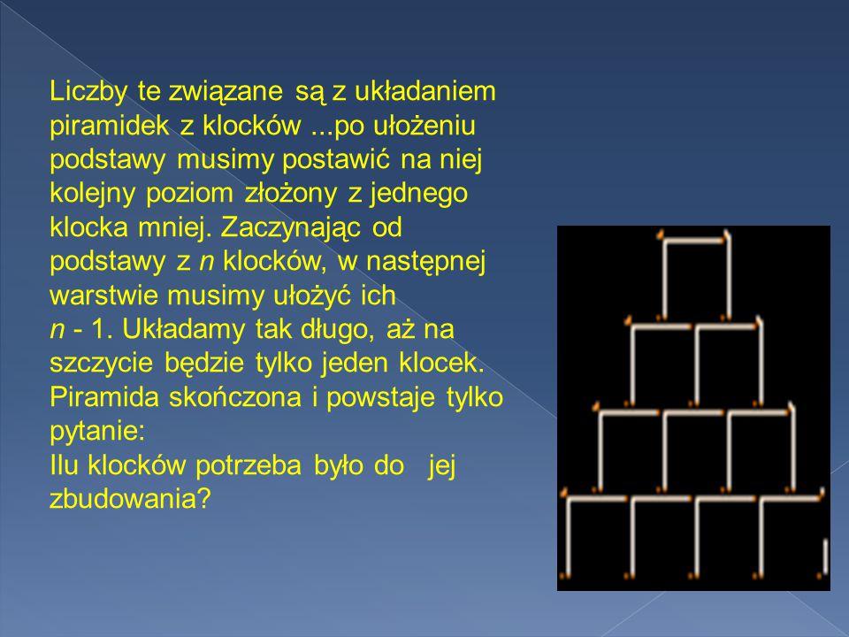 Liczby te związane są z układaniem piramidek z klocków...po ułożeniu podstawy musimy postawić na niej kolejny poziom złożony z jednego klocka mniej.
